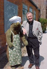 Jacques Pepin & Keeping Room Mascot....Chef Bearnaise